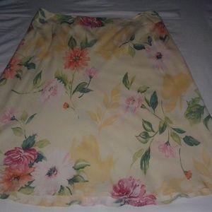 Talbots Floral Pure Silk Skirt